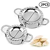 Ciujoy Dumpling Maker 2 Pcs Stainless Steel Gyoza Mould Ravioli Mold Dough Press Cutter Wrapper Pie Crimper Pastry Tools for Home Kitchen Small and Large Set