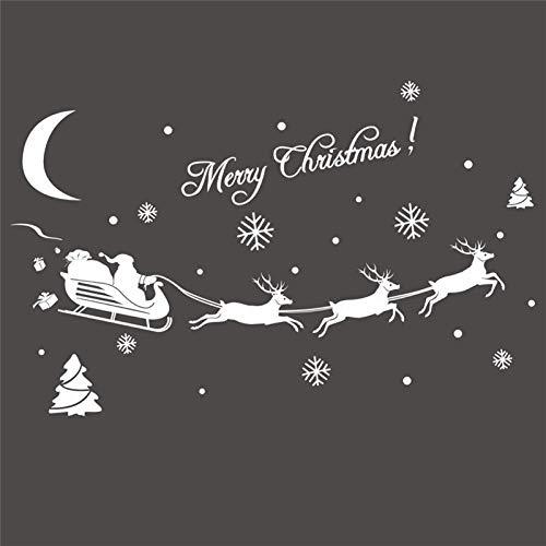 Decors Kerstmis Decoratie Decal Venster Stickers Verwijderbare Glas Muur Kerstmis Vrolijk Kerst Deer&Slee Ride Muursticker Supply