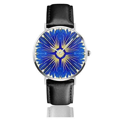 Azulejos Quarz-Armbanduhr, portugiesische Fliesen, wasserdicht, PU-Leder-Armband, klassisch, lässig, Edelstahl