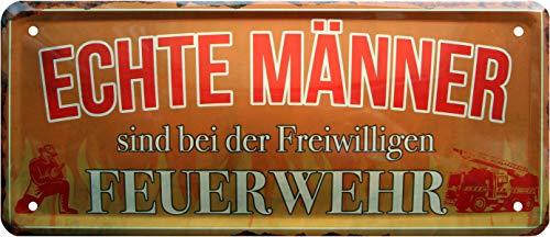 Rahmenlos 1376 Plaque métallique décorative pour Homme en Forme de Pompiers 28 x 12 cm