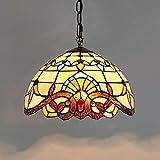 XYQS Luz Colgante de Techo de Vidrio Barroco tiffanystyle, lámpara Colgante de 12 Pulgadas de Ancho Colgante de lámpara Colgante, para Dormitorio de Sala de Estar