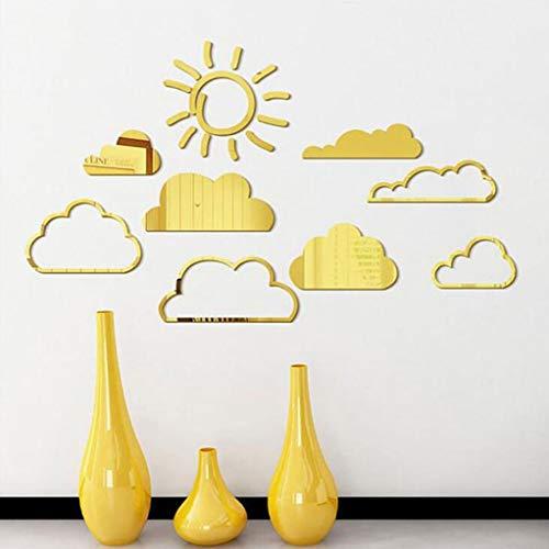 HFWJHH Muurstickers Zonnewolk driedimensionale spiegel kinderkamer slaapkamer huisdecoratie muurstickers Goud