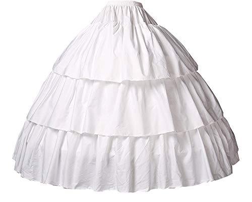 Reifrock Mädchen Petticoat Kinder 100% Baumwolle A Linie Lang Unterrock Ivory 2 3 4 Ringe Für Blumenmädchen Kleid Brautkleid, Style 2-hell Elfenbein, 56CM-Fits(4-6)Years