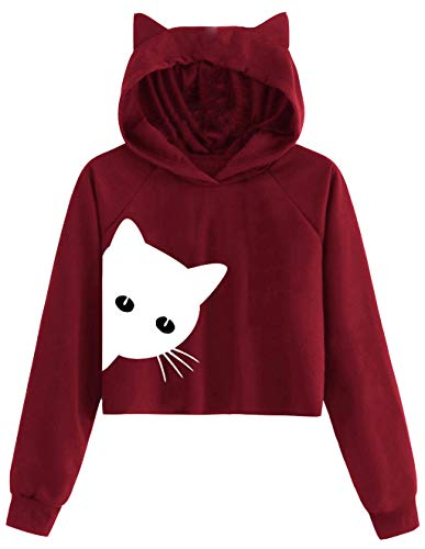 Sweat Shirt Femmes Chat Oreille À Manches Longues Pull Fille Ado Court Sweat À Capuche Sweat-Shirt...