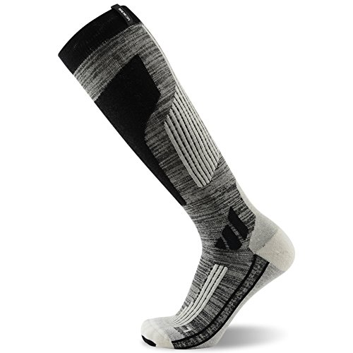 MK MEIKAN Mens Snowboard Socks, Winter Outdoor Anti-blister Quick Wicking Knee High Athletic Hiking Skiing Christmas Gift Socks (White & Grey & Black, Large)