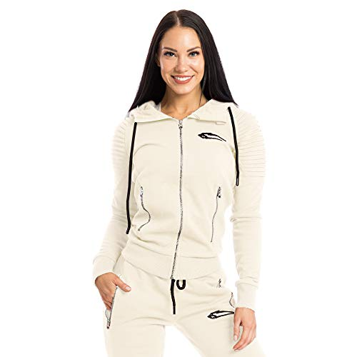SMILODOX Damen Zip Hoodie 'Ripplez' | Laufjacke für Sport Training & Freizeit | Trainingsjacke - Running | Sweatshirt mit Reißverschluss, Farbe:Beige, Größe:XS