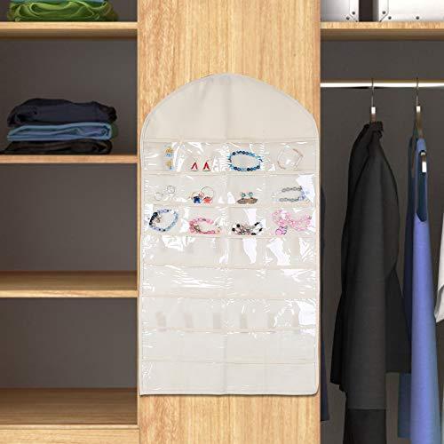 32 Bolsillos Bolsa de Almacenamiento de Pendientes Plegables de plástico para pomo de Puerta de Poste de Armario de Pared(Beige)
