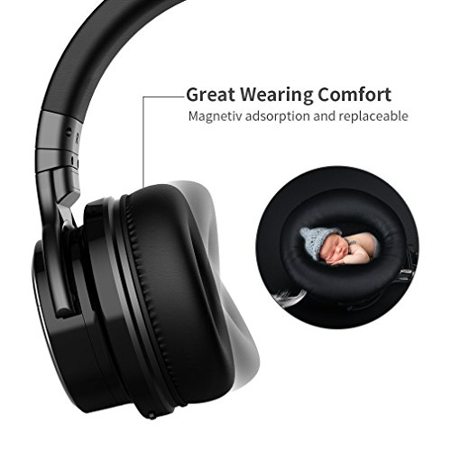 COWIN E7 PRO [Upgraded] Active Noise Cancelling Headphones Bluetooth Headphones with Microphone/Deep Bass Wireless Headphones Over Ear 30H Playtime for Travel/Work/TV/Computer/Cellphone - Black