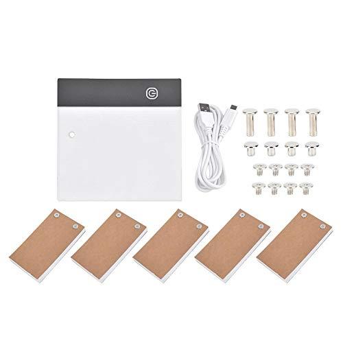 Dibujo a Mano LED Artcraft Tracing Light Box Light Pad, Portable Light Box Tracer USB Positioning Hole Flip Book Kit Suministros de Pintura, Ultra-Thin LED Light Pad(USB)