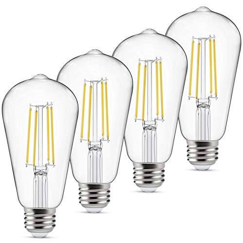 Dimmbare LED-Edison-Leuchtmittel, entspricht 60 Watt, Augenschutz, LED-Birne mit 95+ CRI Tageslichtweiß, 4000 K, ST58 antikes LED-Glühfaden, E26 mittlerer Sockel, 4 Stück