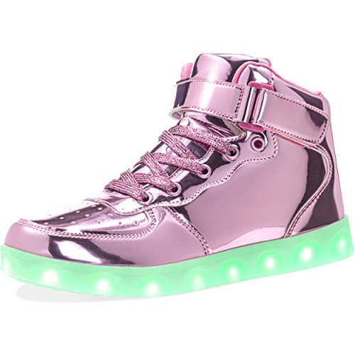 APTESOL Kids Youth LED Light Up Sneakers Unisex Boys Girls High Tops Cute Cool Flashing Shoes Halloween Xmas School Birthday Party Dancing Shoes (Pink, 6 Big Kid)