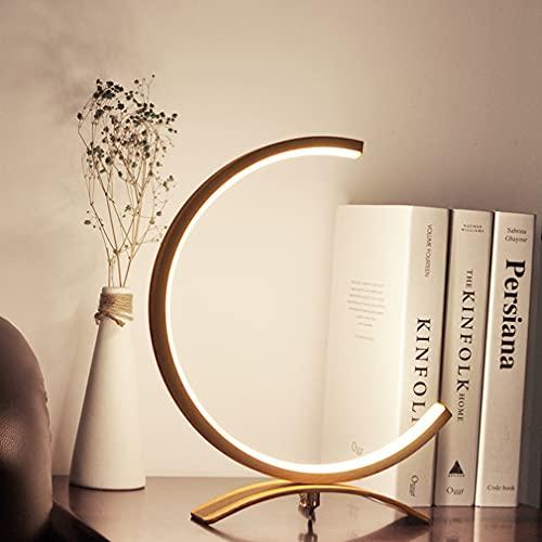 Lámpara de mesa de mesa moderna Lámpara de círculo Lámpara de noche Lámpara de aluminio Lámpara de mesa creativa Dormitorio Decoración de la lámpara Ø28cm,Wood