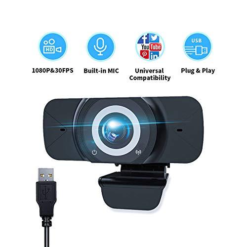 ZHIKE 1080P Webcam, Full HD Plug & Play USB-Webkamera mit Bulit-In-Mikrofon für PC Desktop & Laptop Live-Streaming-Webcam, Weitwinkel-Webkamera für Videoanrufe Aufzeichnungskonferenzen