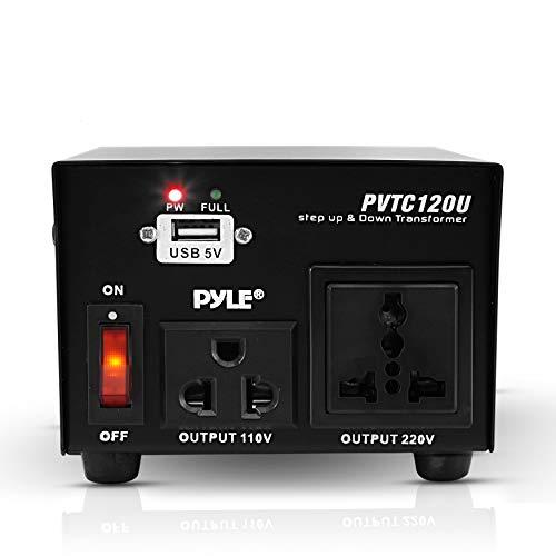Step Up and Down Converter - 100 Watt Voltage Converter Transformer w/ USB Charging Port, UK Power Adapter, AC 110 / 120 to 220 / 240 Volt Vice Versa, 110V/120V/220V/240V Input Voltage - Pyle PVTC120U