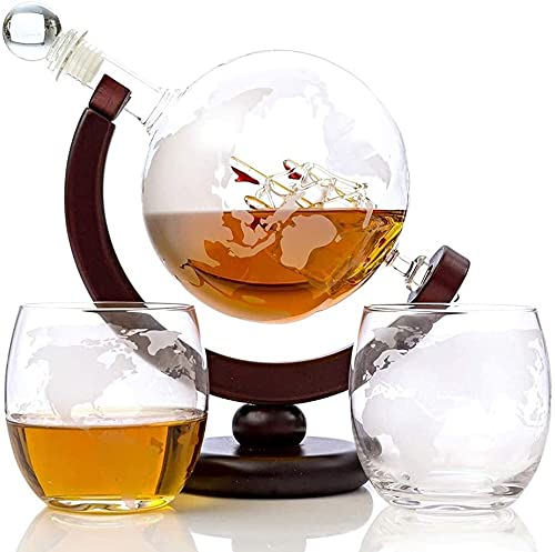 QZMX Decantador Whisky Globe Decanter Set Eched World Globe Decanter para Vino Tinto, Licor, Borbón, Vodka, con 2 Gafas, Accesorios para Bares para Hombres Decantador de Vino de Cristal