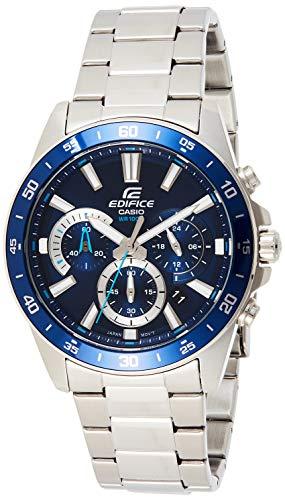 Casio Edifice EFV-570D-2AVUDF Reloj analógico de cuarzo plateado de acero inoxidable hombres