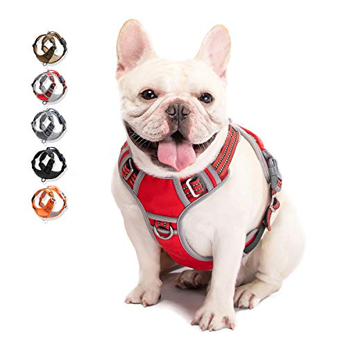 WALKTOFINE Dog Harness No Pull Reflective, Comfortable Harness with Handle,Fully Adjustable Pet Leash Vest for Small Medium Large Dog Breed Car Seat Harness Red M