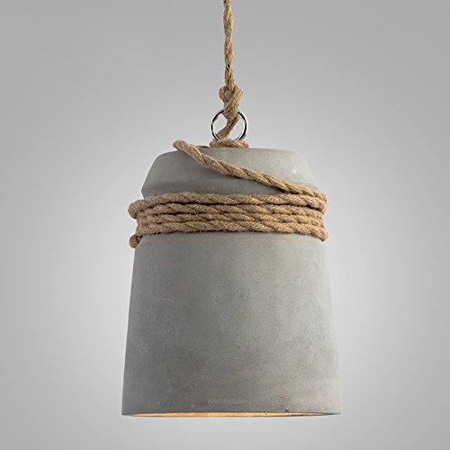 yjlight – Lampada a sospensione Cemento Calcestruzzo moderno luce lampada corda di canapa deco del illuminazione lampadario in metallo regolabile in altezza per Lounge Ristoranti Bars soggiorno E27