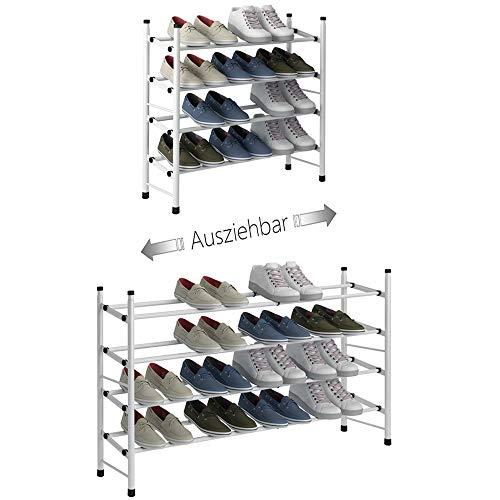 TZAMLI - Scarpiera estensibile con 2 ripiani per riporre fino a 12 paia di scarpe, regolabile, impilabile, per corridoio, 62 ~ 114 x 22 x 35 cm
