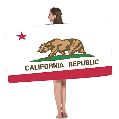 HOSNYE Flag Beach Towel State of California Republic Flag for Bear and Star Design Soft Highly Absorbent Bath Towels for Swimming, Sports, Beach, Gym, Bathroom