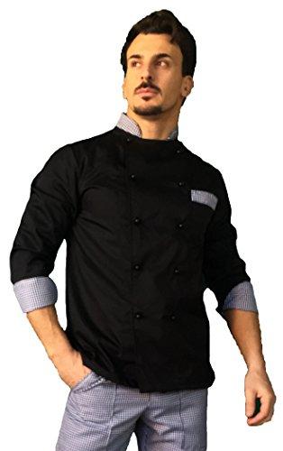 tessile astorino Giacca Cuoco Uomo, Casacca Chef, Nera e Pied de Poule, con Nome Ricamato, Ricamo Gratuito, Personalizzabile, Made in Italy