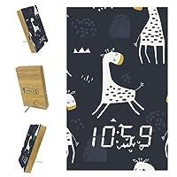 寝室用デジタル目覚まし時計キッチンオフィス3アラーム設定ラジオ木製デスククロック-かわいいキリンとシームレスな子供っぽいパターン