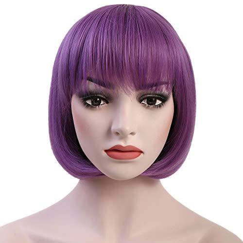 OneDor 10' Short Straight Hair Flapper Cosplay Costume Bob Wig (SHT362 - Lavender)