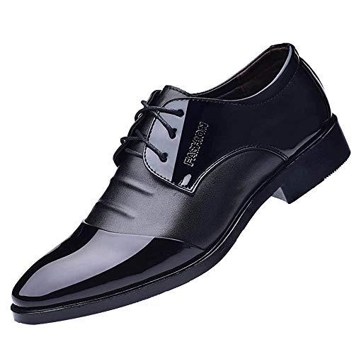 Skxinn Schnürhalbschuhe Für Männer, Herren Vintage Oxford Business-Schuhe Herrenschuhe Hochzeit Kunstlederschuhe Anzugschuhe Gr 38-47(Schwarz,40 EU)