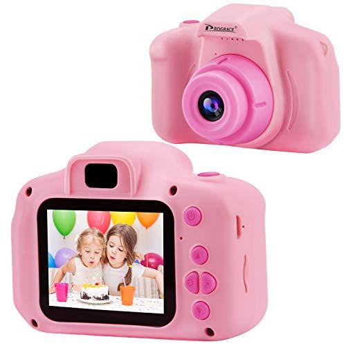 PROGRACE Kinder Kamera Kinder Digitalkameras für Mädchen Geburtstag Spielzeug Geschenke 4-12 Jahre altes Kind Action Kamera Kleinkind Video Recorder 1080P IPS 2 Zoll