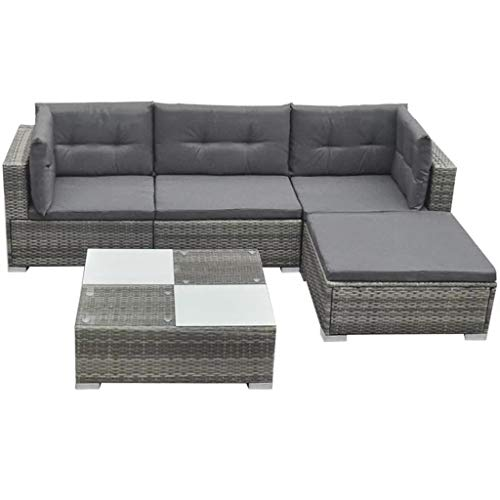 WENXIA Set of 5 pcs garden furniture and cushions gray synthetic rattan Furniture Complete Rattan Sofa Set Furniture Complete Gray