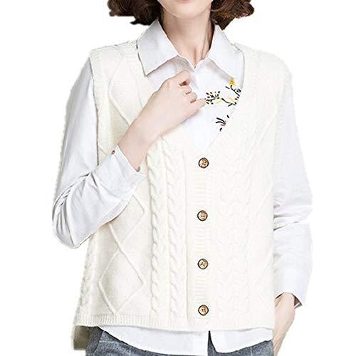 Primavera Cardigan Giacca V-Neck Maglione Gilet Abbigliamento Donna bianco L
