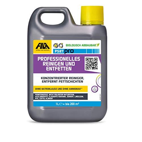 Fila PS87 Pro Reinigungs- und Entfettungsmittel, Fleckenentferner Cotto, Klinker, Naturstein, Keramikfliesen 1 l. für bis zu 50 qm