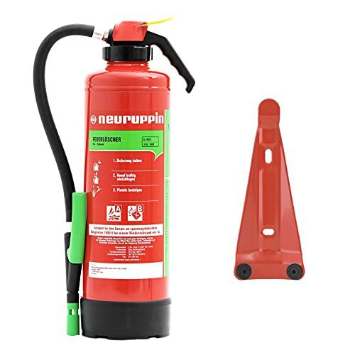Neuruppin 6L Schaum Marken-Auflade-Feuerlöscher S6P 6 LE inkl. ANDRIS® ISO-Symbolschild, ANDRIS® Prüfnachweis & Wandhalterung