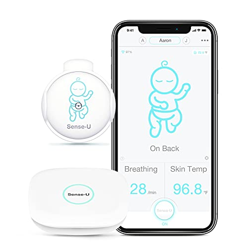 Sense-U Smart Baby Breathing Monitor 2: Monitors Infant Breathing Movement, Rollover, Skin Temperature and Baby Room's Temperature, Humidity Level with Real-time Alerts from Anywhere (Green)