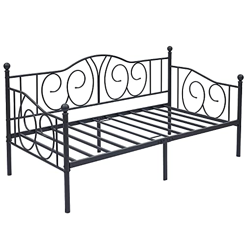 Metal Day Bed Frame Guest Sofa Bed for Living Room Bed Room, Single Beds with Headboard and Solid Metal Slat, Black, 200.7*104.6cm