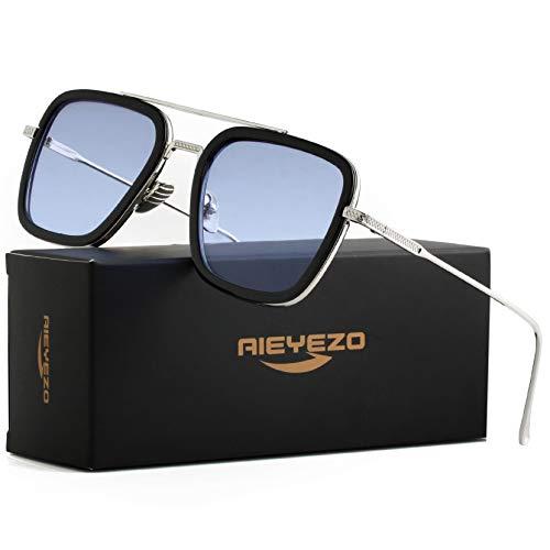 Tony Stark Sunglasses Vintage Square Metal Frame Eyeglasses for Men Women - Iron Man and Spider-Man Sun Glasses (Spider Man Same Color)