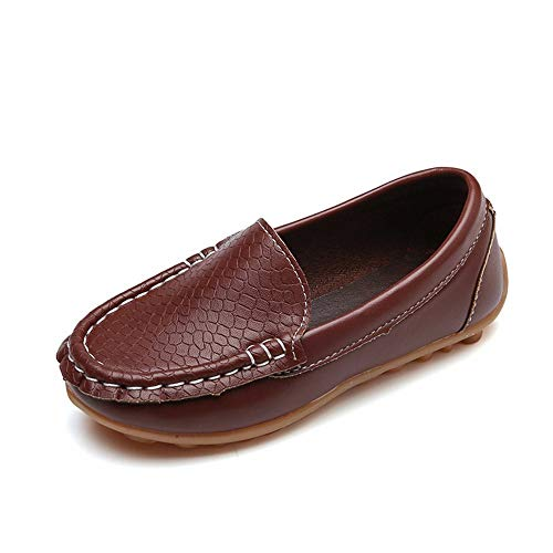 WEXCV Kinder Kind Jungen Mädchen Solide Leder Sport Lazy Sneaker Casual Bootsschuhe (EU:33, Braun)
