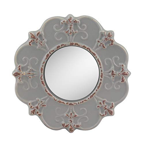 Stonebriar Decorative Round Antique Gray Ceramic Wall Mirror, Vintage...