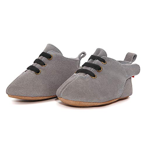 Zutano Leather Oxford Baby Shoes, Non-Slip Soft Soles, Unisex, for Infants, Babies, and Toddlers, Dark Gray, 24M