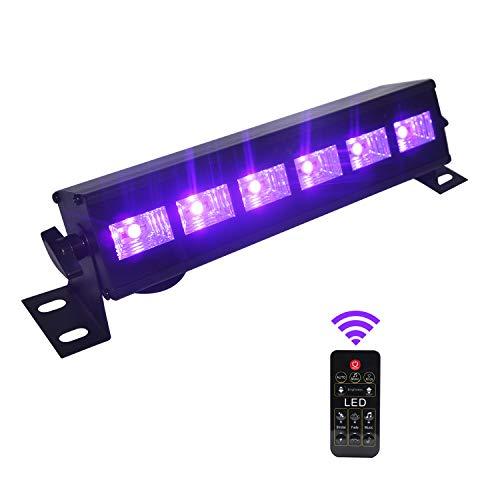 Lumières Soirée UV,Eleganted 6 LEDs 18W Led Barre Dimmable Lumière Noire Projecteur UV avec Télécommande pour Fêtes Étape Mariage Scène Disco DJ Halloween Éclairage (18W avec Télécommande)