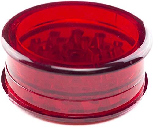 DIENTE DE TIBURÓN Grinder Especias, Tabaco, Hierbas Grinder Plástico, 2  (50mm), 3 Piezas, Dientes En Forma De Diamante (Rojo)
