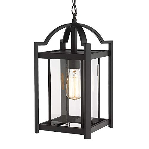 Emliviar Outdoor Pendant Lights for Porch, 17 Inch Outside Hanging Light Fixtures in Black Finish with Clear Glass, 3038H BK