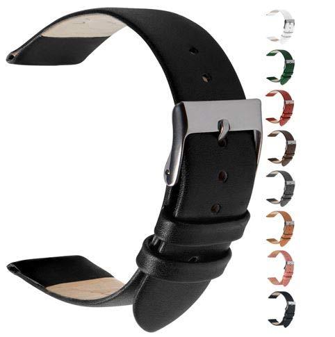 Wildery Echt Leder Uhrenarmband und Smartwatcharmband für 22mm Stegbreite mit Federstegen und Edelstahl Dornschließe für Herren und Damen in 10 Farben (22mm, schwarz)