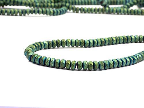 Hematiet edelstenen kralen voor kettingen en armband zelf maken lens 4x2mm gefacetteerd 170 stuks, groen