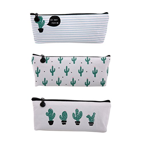 NUOLUX 3pcs Cactus Impreso Lápiz Lápiz Bolsa De Pluma Bolso De Maquillaje Bolsa De Papel