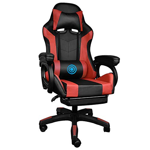 YCGSHOP Gaming Chairwith Headrest Footrest Ergonomic MassageLumbar Support Racing Office Chair Computer Game Chair Seat Height and 135° Backrest Adjustable Swivel Esports Chair - Red