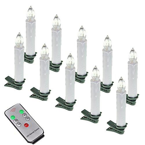 MCTECH 10er Warmweiß Weinachten LED Kerzen Kabellose Weihnachtsbeleuchtung Flammenlose Lichterkette Kerzen Weihnachtskerzen für Weihnachtsbaum, Weihnachtsdeko, Hochzeitsdeko, Party, Feiertag
