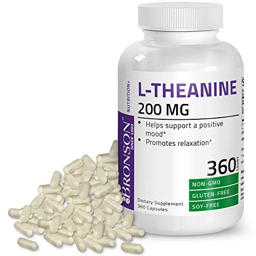 L-Theanine 200mg (Double-Strength) with Passion Flower Herb - Reducing Stress and Promoting Relaxation Without Sedation - Non GMO, 360 Capsules