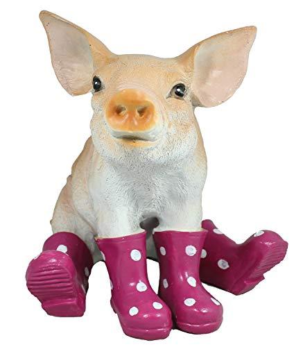 colourliving Schwein Figur mit Gummistiefeln Gartendeko Sau Figur Gartenfigur Dekofigur Tierfigur lustige Gartendekoration Ferkel brombeer