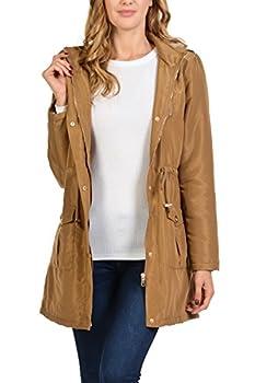 Auliné Collection Women s Satin Faux Fur Lined Hoodie Long Coat Anorak Jacket Camel 2XL